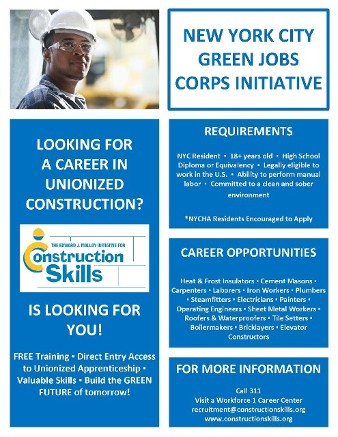 NYC Green Jobs Corps Initiative Flyer